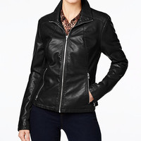 Kenneth Cole Faux-Leather Moto Jacket | macys.com