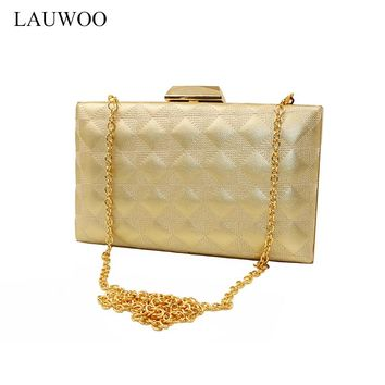LAUWOO Women Golden Evening Bag Lady Grid Vogue Embossed Banquet Bag Minaudiere Female Day Clutch Wedding Party Chain bag