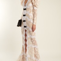 Bow-embellished layered floral-lace gown | Alessandra Rich | MATCHESFASHION.COM US