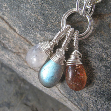 Stars, Sun and Moon Labradorite Sunstone and Moonstone Wire Wrapped Necklace, 24 inches, Choose Your Length
