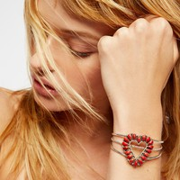 Free People Sterling Apple Coral Heart Cuff