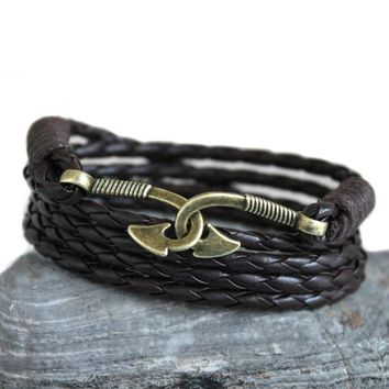 Double fish hooks bracelet - Synthetic leather rope nautical bangle - survival caribbean clasp for men