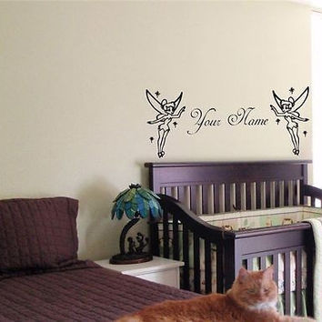 CUSTOM PERSONALIZED BABY NAME TINKERBELL FAIRY WALL STICKER BOY GIRL ROOM 01