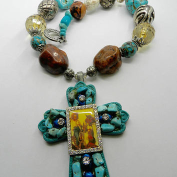 Western Cross  Chunky Necklace Rodeo Cowgirl Necklace Turquoise Cross   Statement Necklace