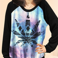 Casual  Women's Harajuku Marijuana leaf Printed Hoodie Sweats Clothing Xmas Gift