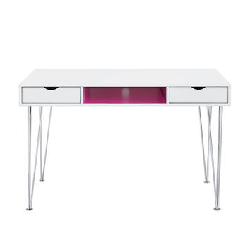 Accent Computer Desk - Hot Pink / White