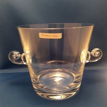 Tiffany & Co Crystal Ice Bucket with Scrolled Handles