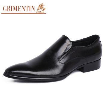 GRIMENTIN Italian designer genuine leather mens loafers luxury brand cowhide men dress shoes basic flats for wedding 519