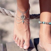 1pcs Bohemia Anklet Boho Beads Anklets Bracelet Foot Chain Beach Fashion Jewelry (Color: Silver) = 5658250305