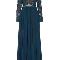 Elie Saab - Embellished tulle and silk-chiffon gown