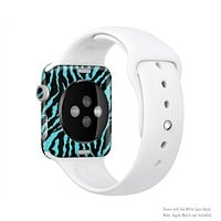 The Vector Teal Zebra Print Full-Body Skin Set for the Apple Watch