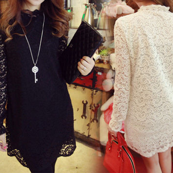 Black Long Sleeves Lace Embroidered Dress