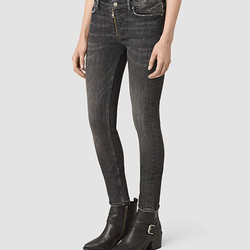 ALLSAINTS US: Womens Track Ankle Jeans (Vintage Grey)