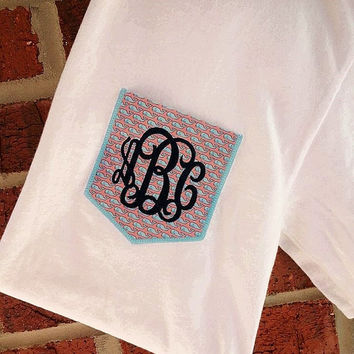 Monogrammed Pocket Short Sleeve with Vineyard Fabric font INTERLOCKING