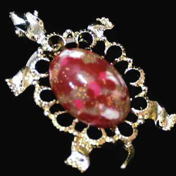 Vintage Gerry's Turtle Brooch, In Gold Tone With Red Marbilized And Gold Sparkle Cabachon