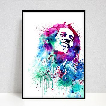 Bob Marley Art Print, Reggae icon Bob Marley portrait, watercolor, fan art illustration, Bob Marley poster, Rock Art, Gig Poster, Rock Art -25