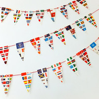 Flag Bunting, Paper Garland, Pennants, Eco-friendly bunting, Recycled Banner