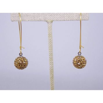 Gold Swarovski Pave Crystal Ball Drop Earrings