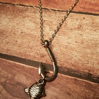 Fish necklace, fishing necklace, fish hook necklace, bass necklace, fishing jewelry, country necklace, hook necklace, river necklace