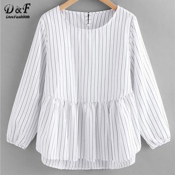 Frill Hem High Low Pinstriped Blouse White Long Sleeve Woman Top And Blouse Round Neck Button Blouse