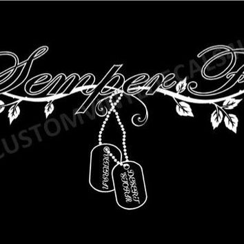 Semper Fi Decal US Marine Corps decal Women Military Decal car decal truck auto window custom decal United States Marines Semper Fi Dog tags