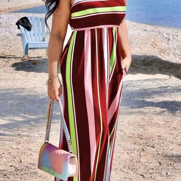 Red Striped Pockets Round Neck High Waisted Flowy Bohemian Casual Maxi Dress