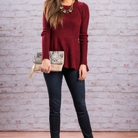 Fabulous Flare Sweater, Burgundy