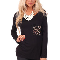 Black Top with Animal Print Back and Pocket
