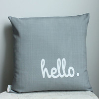 Hello Pillow cover 18 inch coral grey modern hipster accessory home decor nursery gift present zipper closure canvas ready to ship