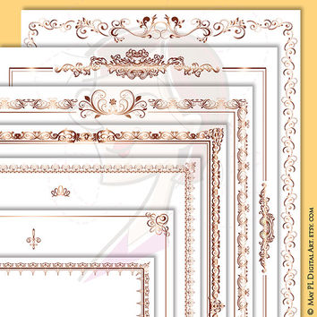 Page Borders ROSE GOLD Document Frame 8x11 Retro Ornate Flourish Frames Award Certificate Clip Art Antique Digital Download Vintage 10583