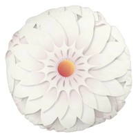 White flowers design round pillow