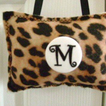 Door Hanger Pillow Brown Leopard Print  Felt  Personalized Initial Button Pin