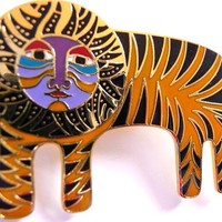 Vintage Laurel Burch Tigre pin brooch | tiger lion | 1980s collectible jewelry