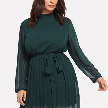 Plus Self Tie Waist Solid Dress