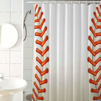 ball baseball shower curtain by jedingwatukali