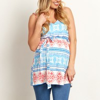Blue-Tribal-Printed-Belted-V-Neck-Maternity-Tank-Top