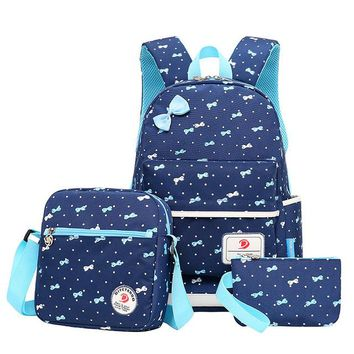 School Backpack 3pcs/set Fashion printing School bags for teen girls Bow knapsack schoolbags High-capacity travel backpacks  AT_48_3