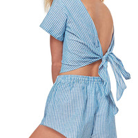 Blue Stripe Tie Back Backless Crop Top And Elastic Waist Shorts
