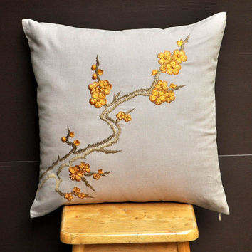 Cherry Blossom Pillow Cover Decorative Pillow Cover by KainKain