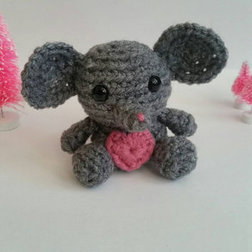 Mouse Crochet Stuffed Animal. Mini Amigurumi Mouse. Mouse Plushy. Plush Mouse Nursery Decoration