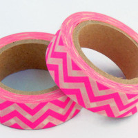 Chevron Washi Tape / / Hot Pink / / Neon