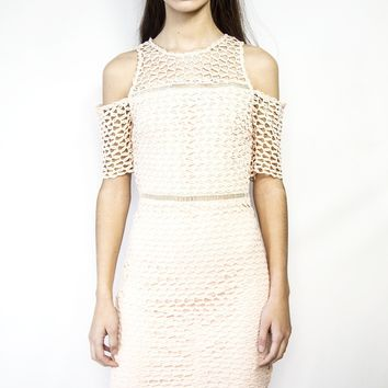 Queen Bee Pink Camille Dress with crochet mesh paneling cold shoulder three quarter sleeve