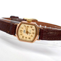 Rose face Womens Watch Zaria. Vintage Gold Plated Ladies Watch 60s. Very Small Mechanical Wrist Watch For Women. Retro Watch. Gift For Her