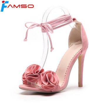 FAMSO Size34-43 2018 New Women Sandals Black yellow Lace-up Designer Flowers Shoes Pumps Designer Summer Women's Sandals Shoes