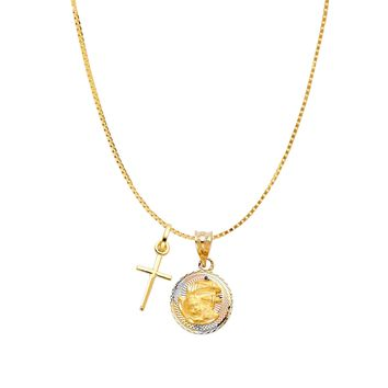 Baptism Multi Medal Cross Necklace - 14K Solid Yellow Gold