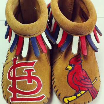 Custom Painted St Louis Cardinals Baseball Baby Moccasins
