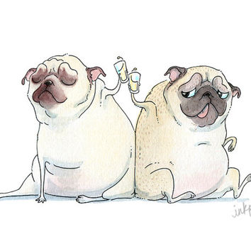 Cheers! Pug Card - We Did It, You Did It, Congratulations on a Job Well Done, Congrats, Thanks for your Help - Pug Art Card from InkPug!
