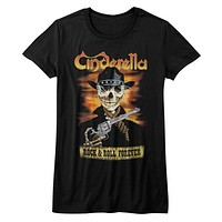 Cinderella Rock Band Juniors T-Shirt Rock and Roll Forever Black Tee
