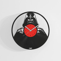 Darth Vader wall clock from upcycled vinyl record (LP)   Hand-made gift for music lover   Star Wars fan wall decoration   Housewarming gift