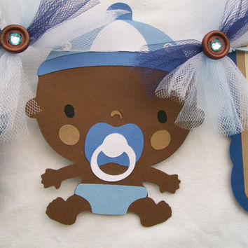 African American baby boy, baby shower banner in blue, brown and white, its a boy - READY TO SHIP